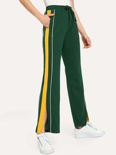 Contrast Tape Slit Side Pants