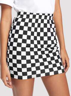 Plaid Print Bodycon Skirt