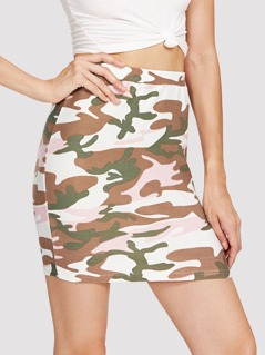 Camo Print Bodycon Skirt