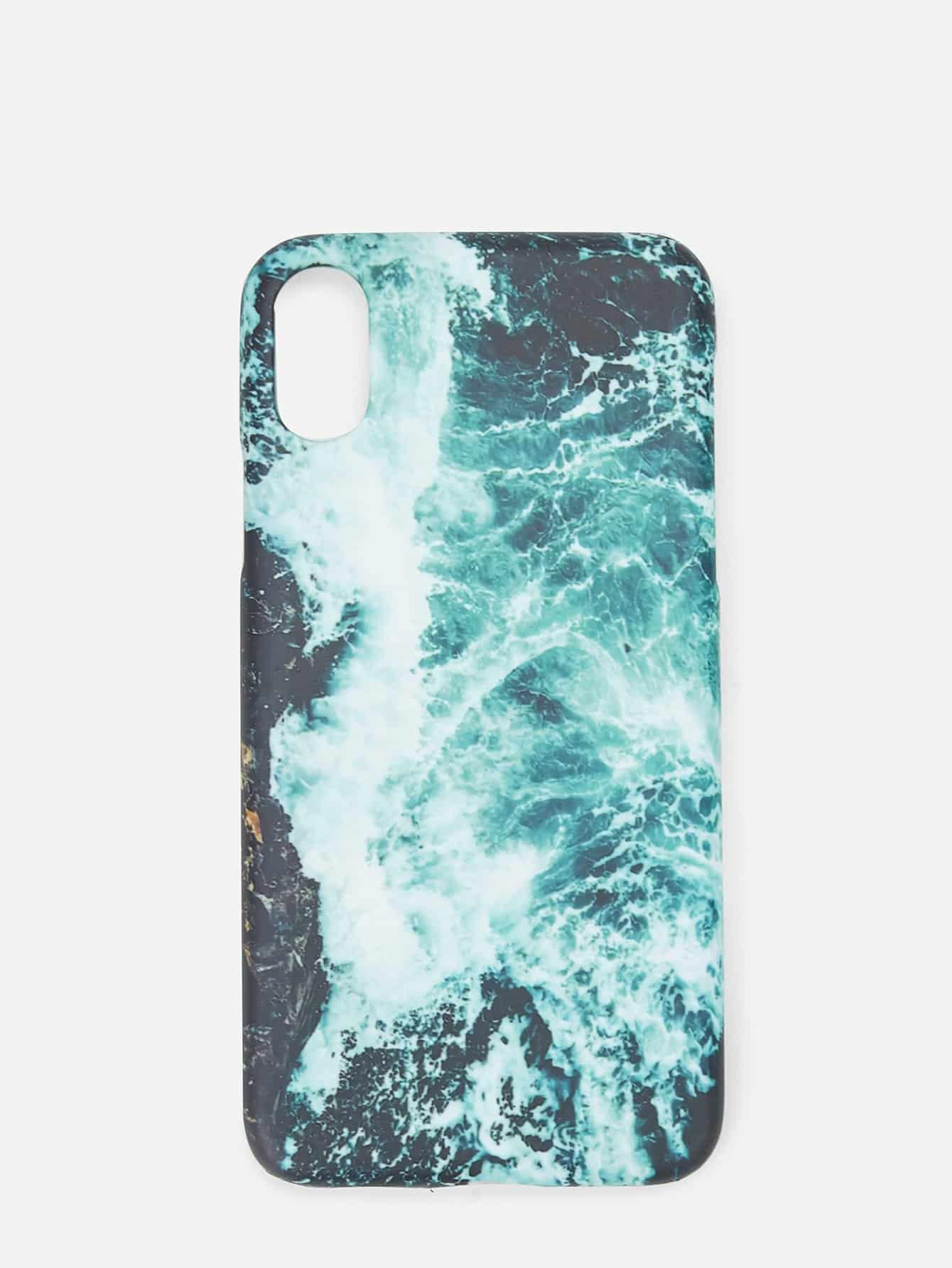 Купить Waves Print iPhone Case, null, SheIn