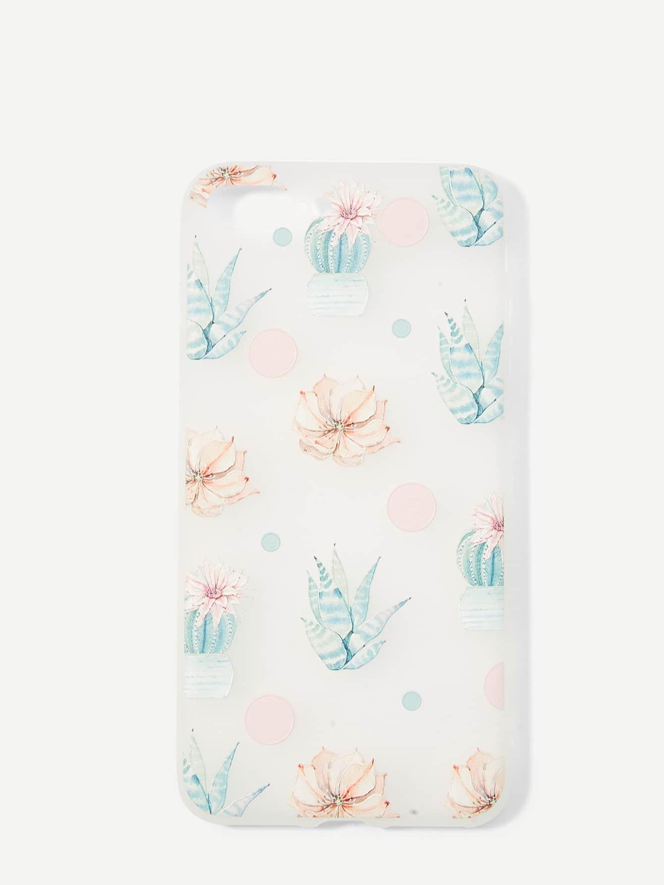 Купить Цветочный и кактус для печати iPhone Case, null, SheIn