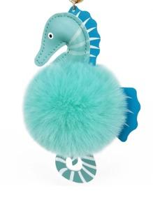 Seahorse Design Keychain With Pom Pom