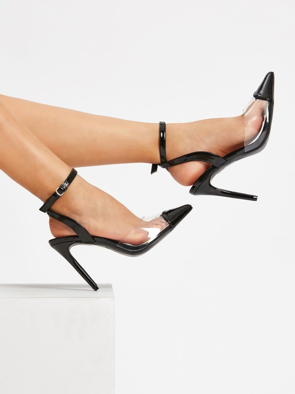 Pointed Toe Ankle Strap Heels by Sheinside