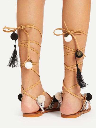 Pom Pom Decorated Criss Cross Flat Sandals