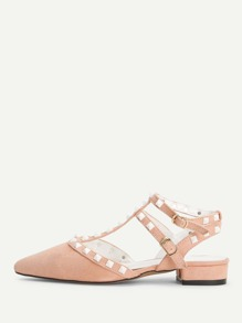 Rockstud Decorated Pointed Toe Suede Heels