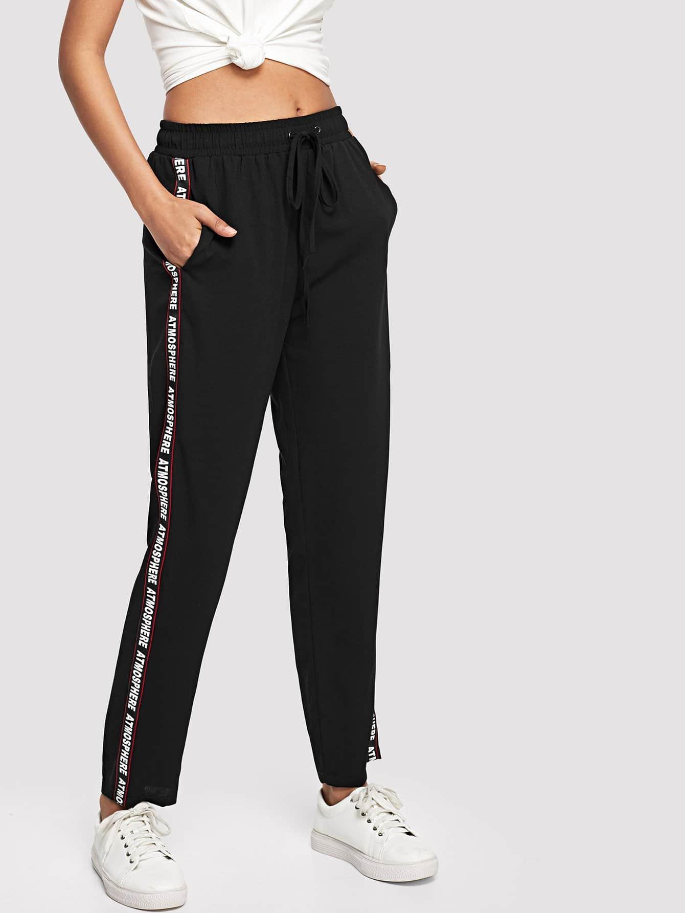 Lettering Tape Side Sweatpants lettering tape side skinny leggings