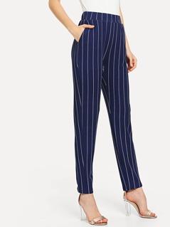 Elastic Waist Pinstripe Cigarette Pants