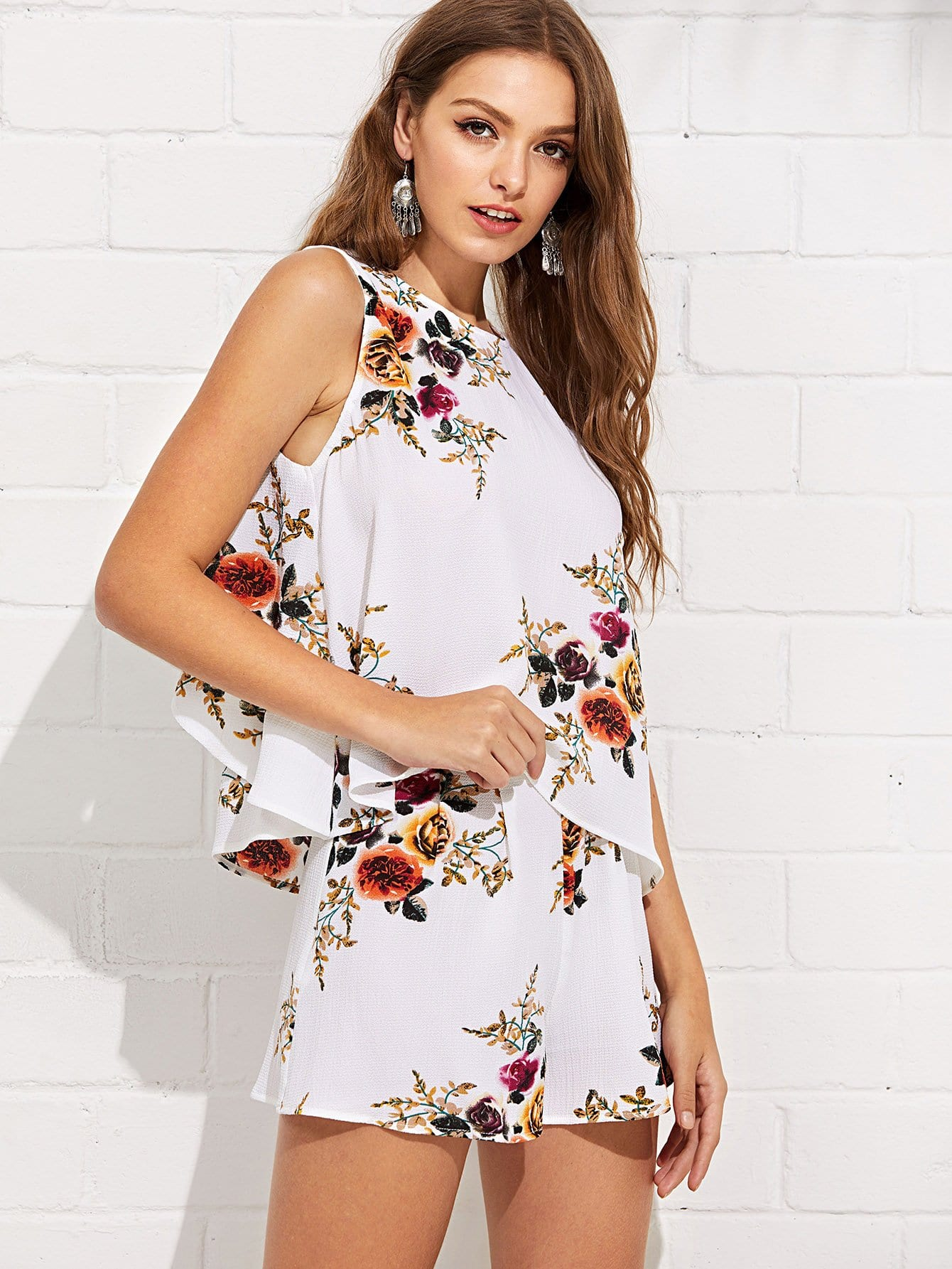 Layered Back Floral Top & Shorts Set layered sleeve floral top