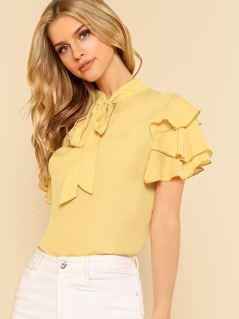 Tie Neck Layered Flounce Sleeve Top