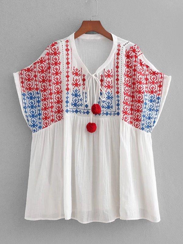Pom Pom Detail Embroidery Babydoll Blouse pinstriped open shoulder tie detail embroidery blouse