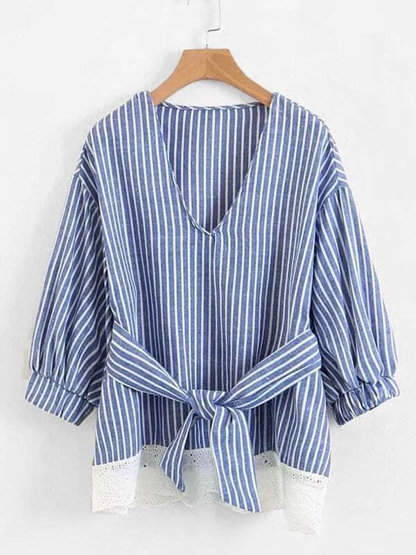 Contrast Lace Self Tie Striped Blouse contrast lace striped swimsuit