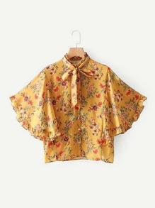 Calico Print Frill Trim Angel Sleeve Shirt