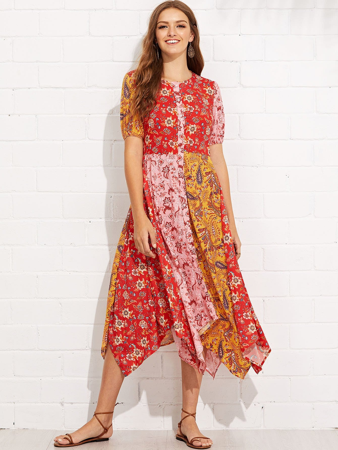 All Over Florals Hanky Hem Dress all over florals ruffle hem top