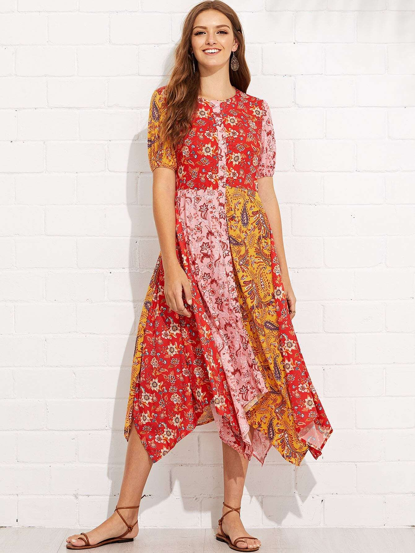 All Over Florals Hanky Hem Dress all over florals ruffle hem wrap dress