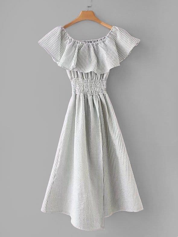 Flounce Layer Neckline Striped Dress layer flounce two piece corset dress