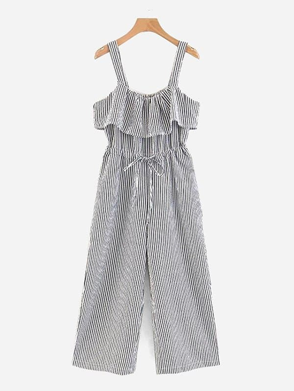 Vertical-Striped Ruffle Trim Wide Leg Jumpsuit shirred panel wide leg striped jumpsuit