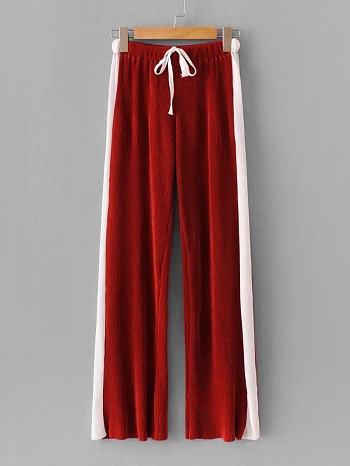Contrast Panel Side Wide Leg Pants contrast panel side pleated harem pants