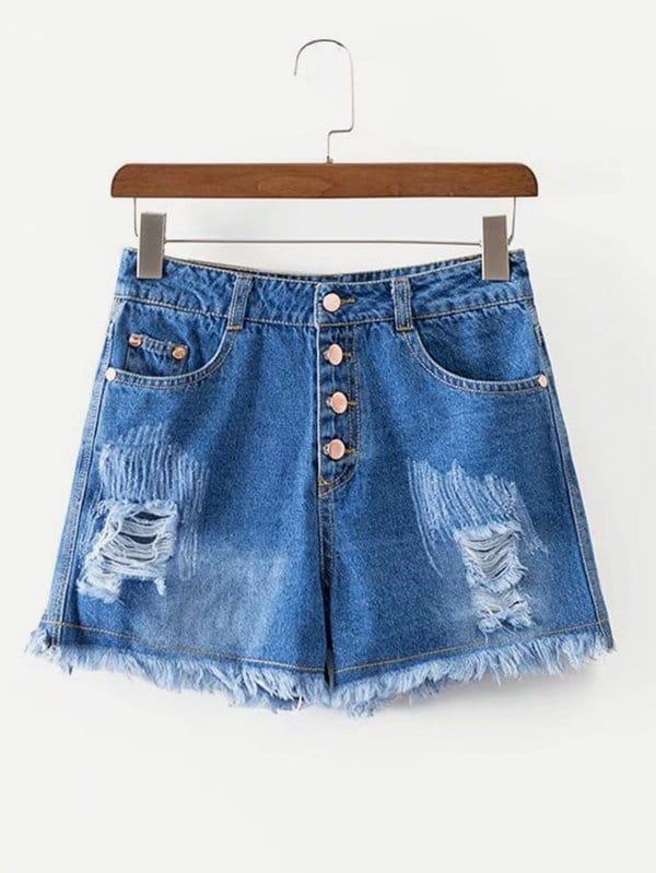 Ripped Fringe Hem Denim Shorts classic pocket styling fringe ripped denim shorts