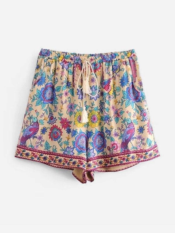 All Over Florals Tassel Tie Shorts all over florals dip hem shirt
