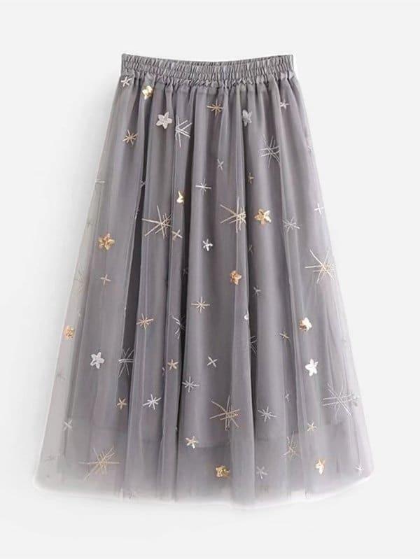 Купить Прозрачная юбка с вышивкой, null, SheIn