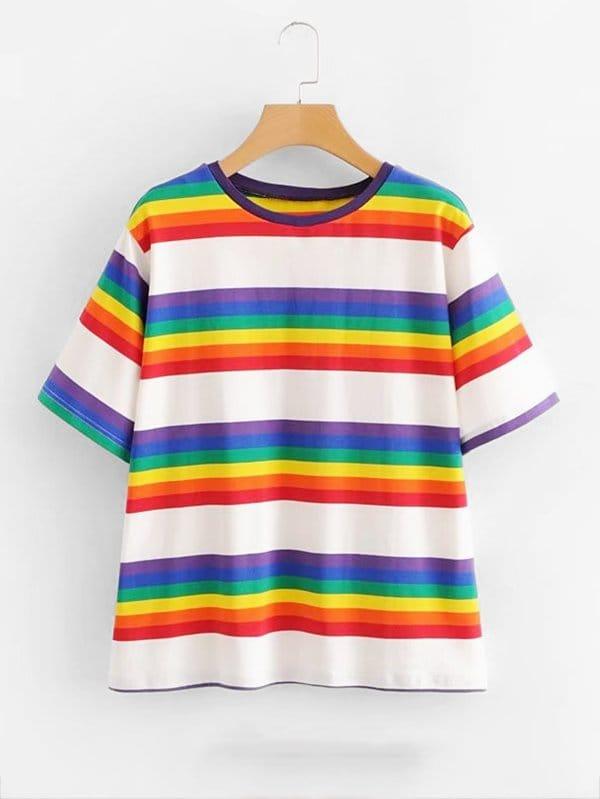 Rainbow Stripe Tee kids stripe tee