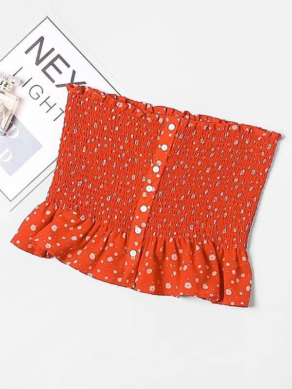 Calico Print Ruffle Hem Shirred Tube Top tied v back ruffle hem calico top