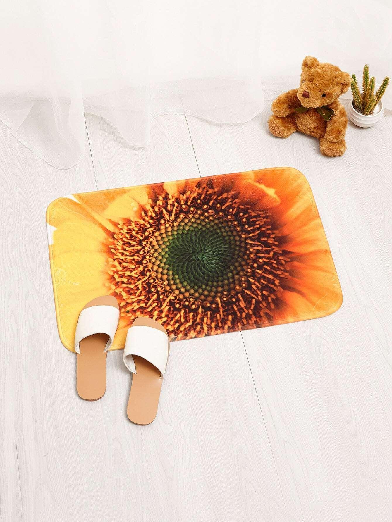 3D Sunflower Print Door Mat sandy beach door mat