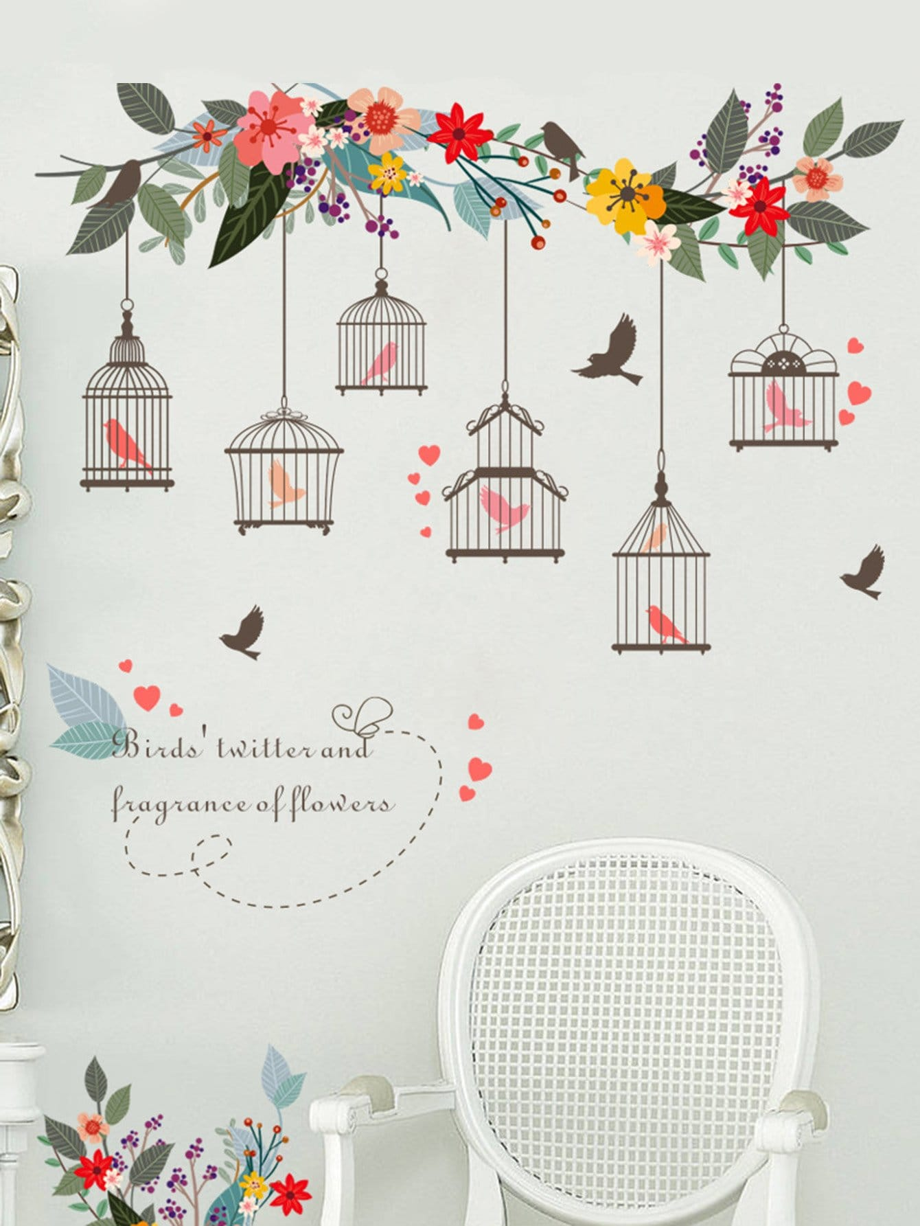 Bird Cage Wall Decal family wall quote removable wall stickers home decal art mural