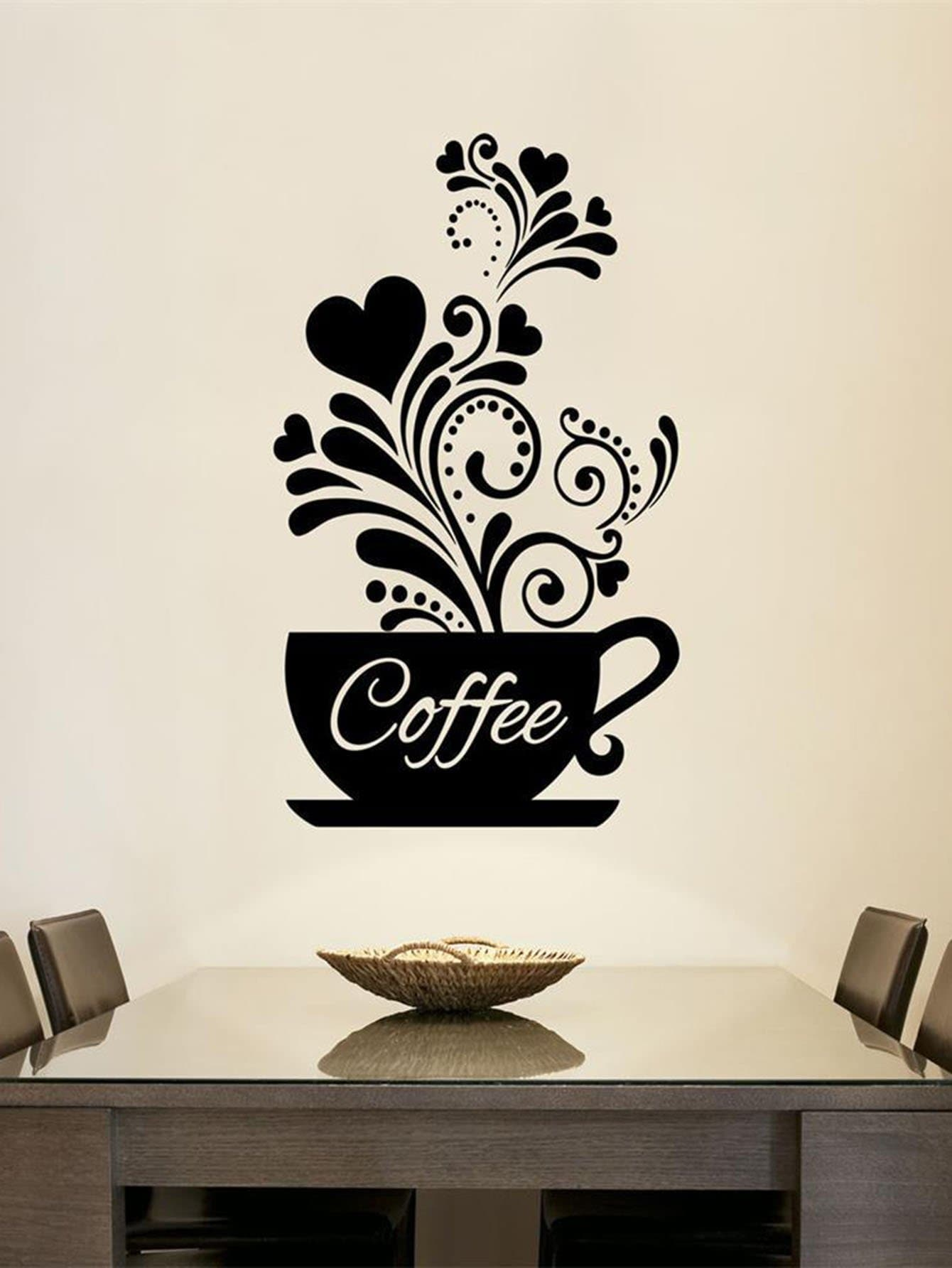 Coffee Garland Wall Decal family wall quote removable wall stickers home decal art mural