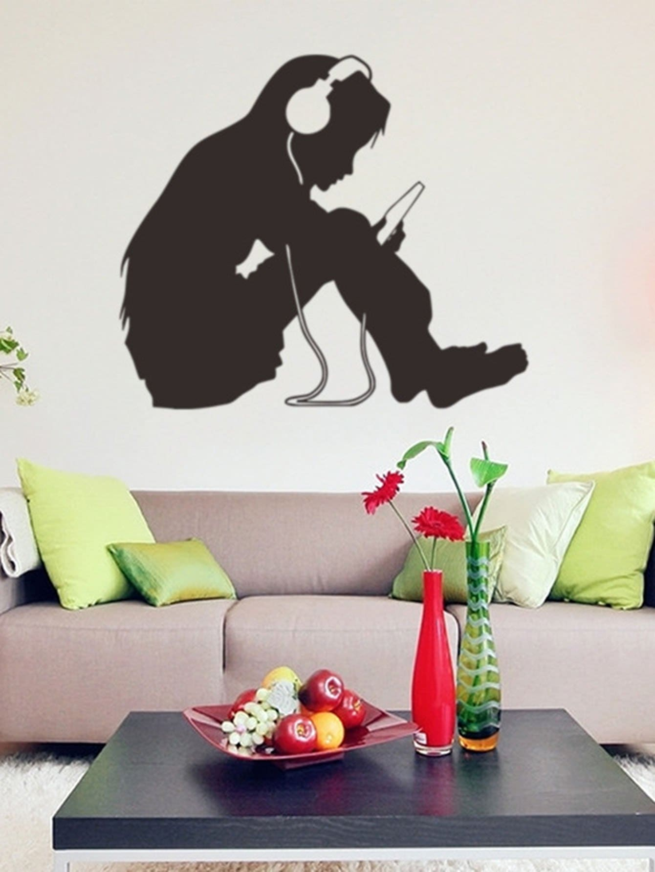Listening Girl Wall Decal floral girl wall decal