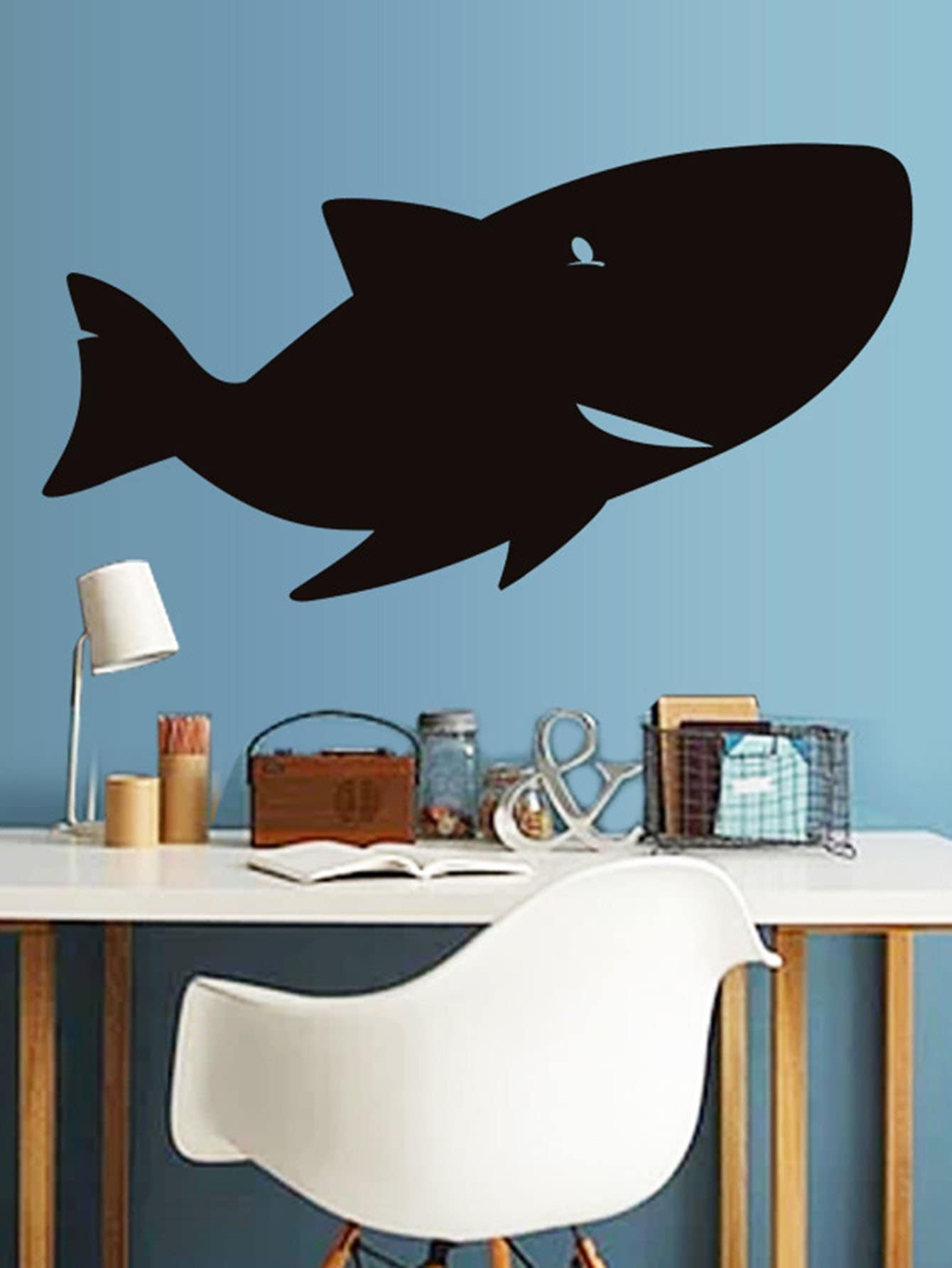Cartoon Shark Blackboard Sticker