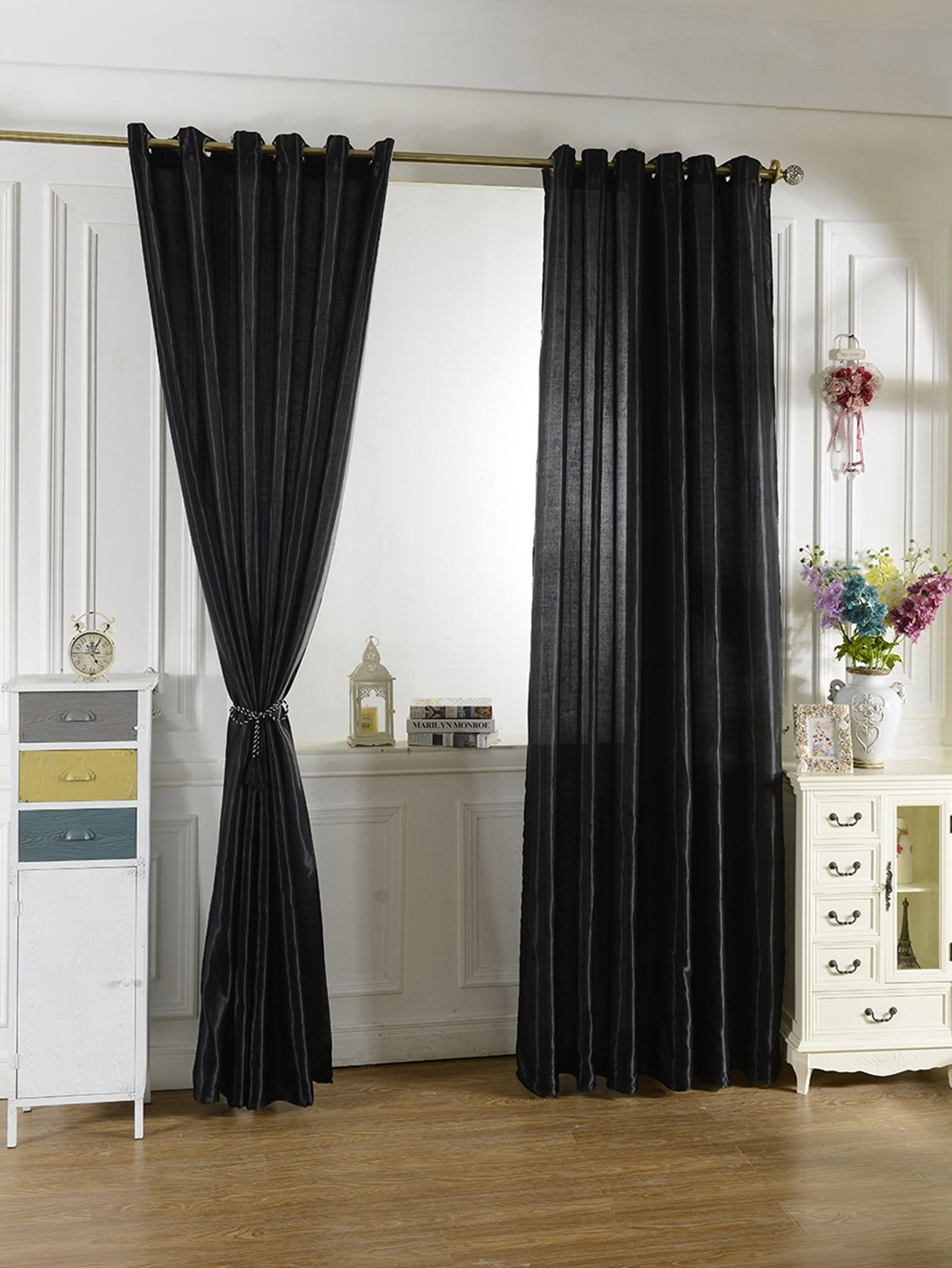 Plain Eyelet Curtain 1pc simple plain pillow 1pc