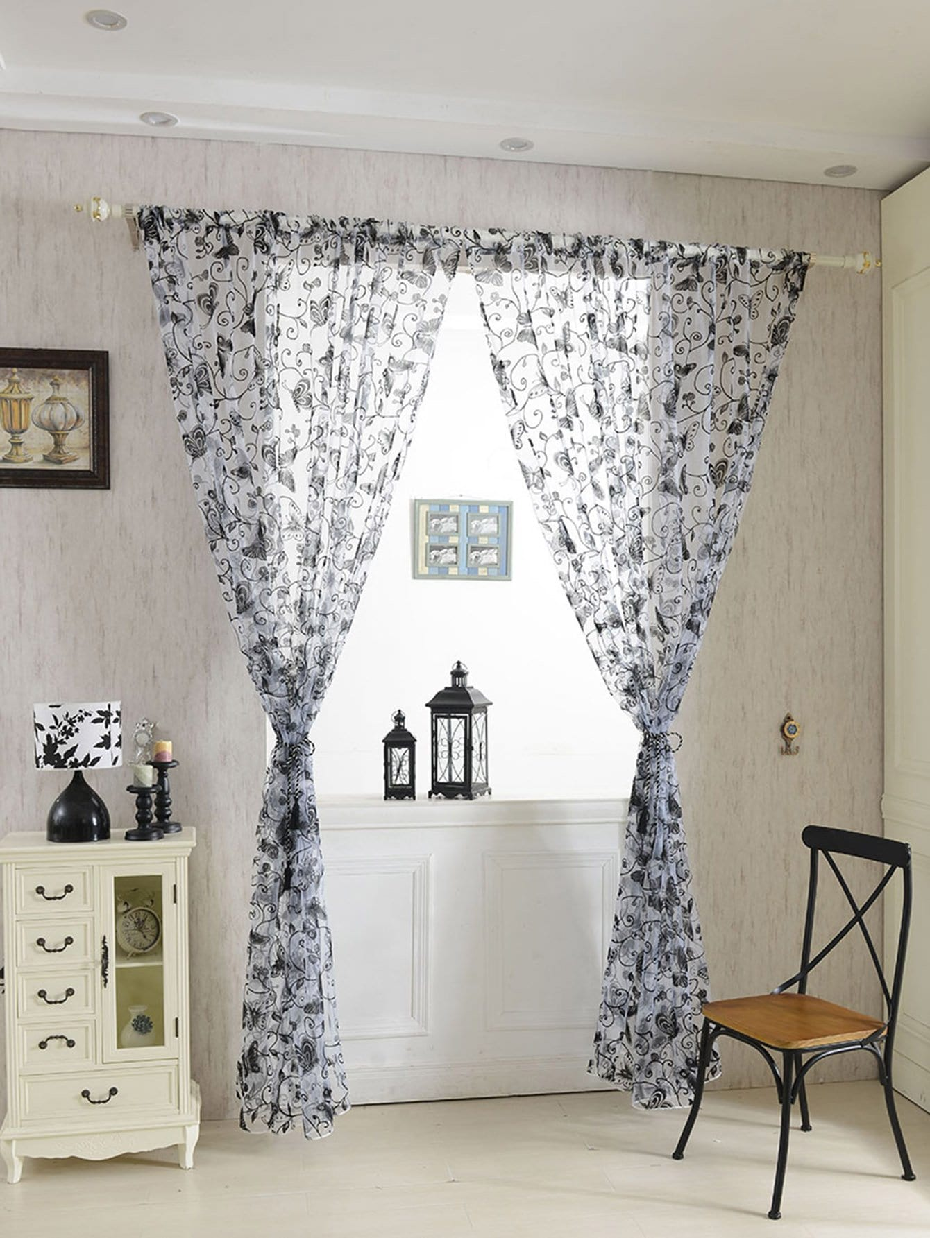 Butterfly Detail Rod Pocket Sheer Curtain 1pc floral print rod pocket sheer curtain 1pc