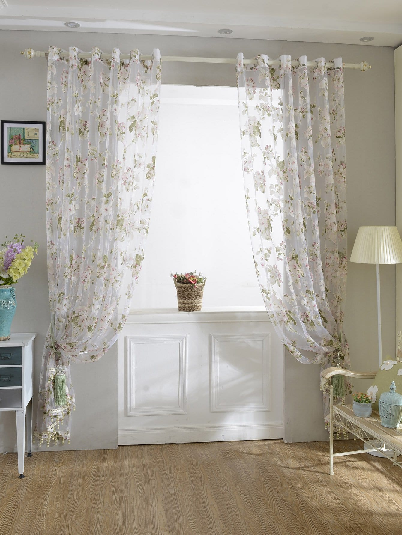 Tassel Fringe Rod Pocket Sheer Curtain 1pc floral print rod pocket sheer curtain 1pc