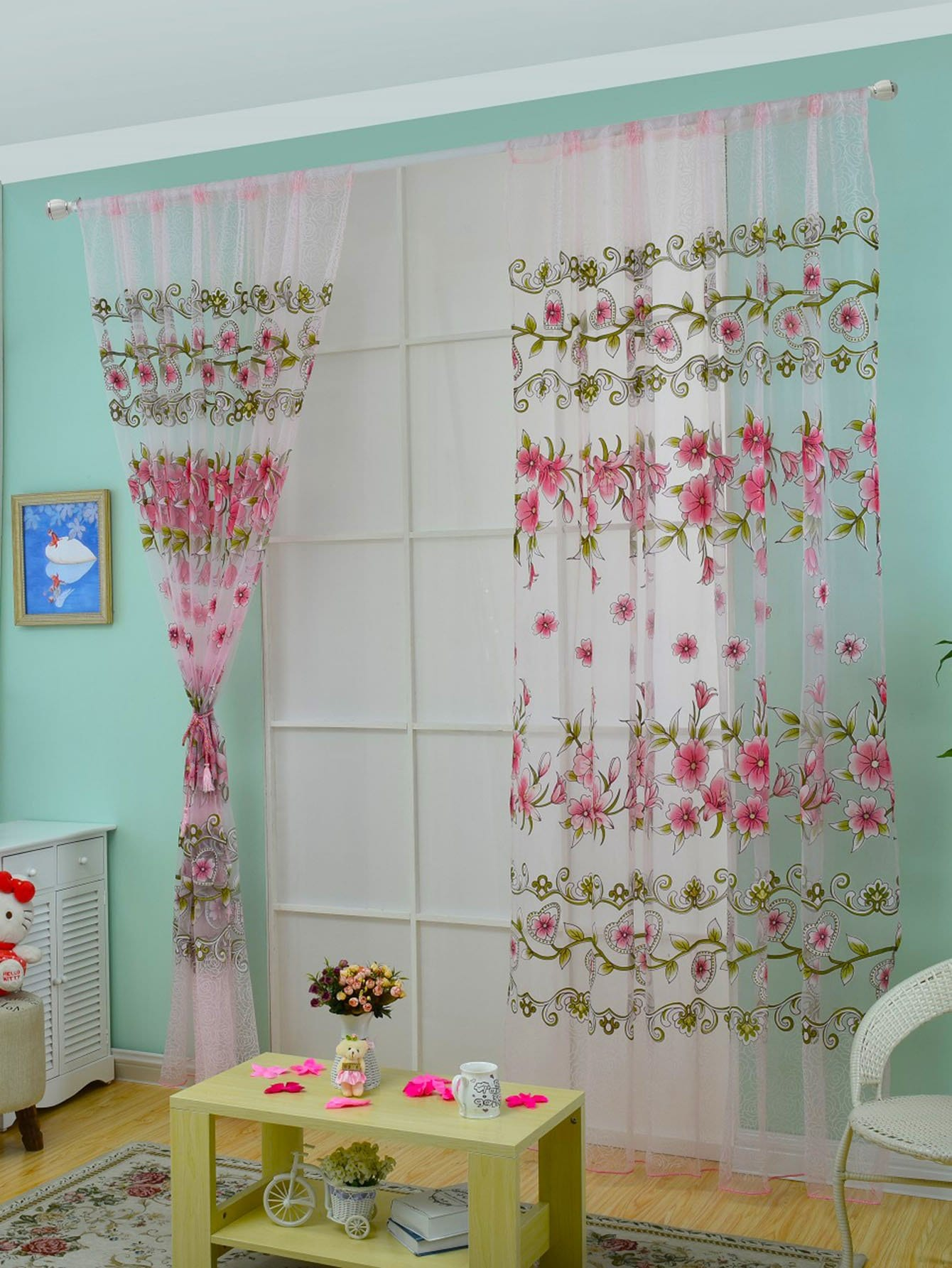 Floral Print Rod Pocket Sheer Curtain 1pc floral print rod pocket sheer curtain 1pc