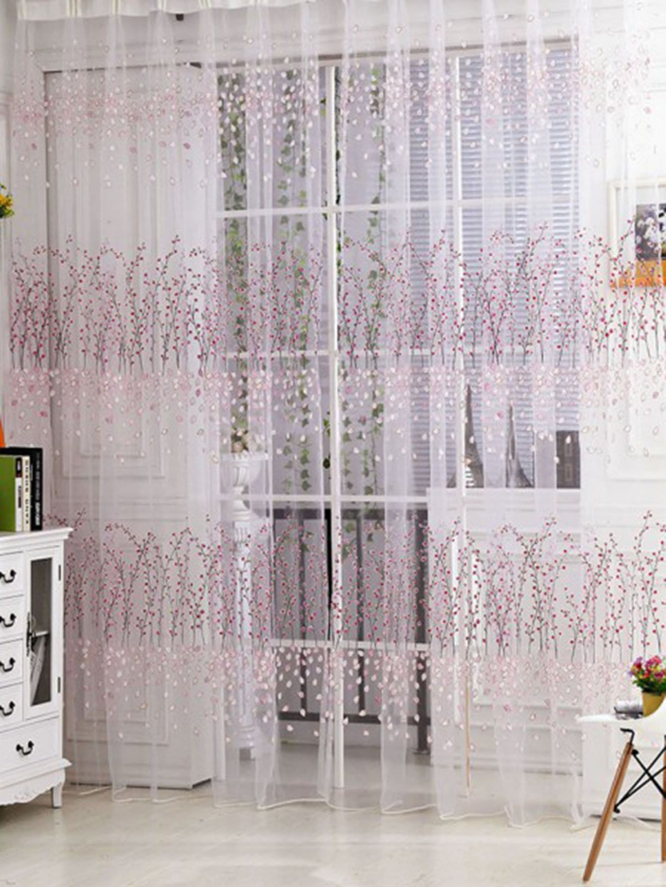 Calico Print Rod Pocket Sheer Curtain 1pc floral print rod pocket sheer curtain 1pc