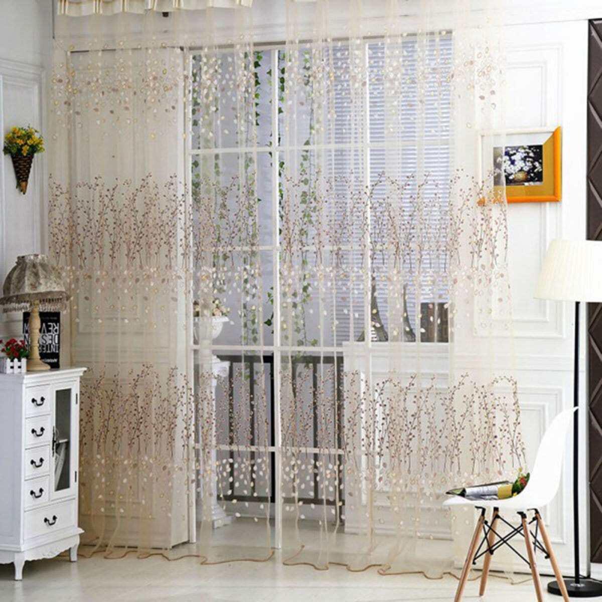 Calico Print Rod Pocket Sheer Curtain 1pc