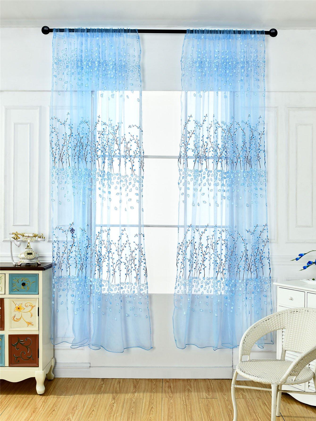 все цены на Calico Print Rod Pocket Sheer Curtain 1pc
