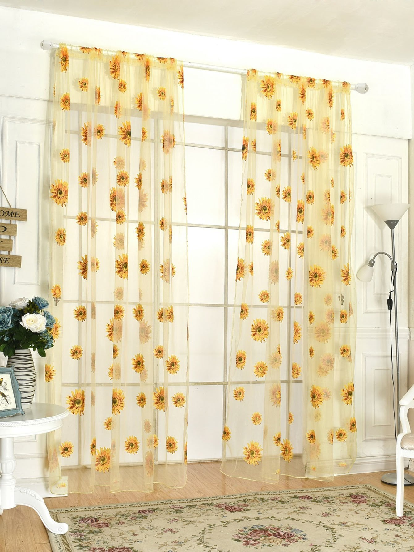 Sunflower Print Rod Pocket Sheer Curtain 1pc floral print rod pocket sheer curtain 1pc