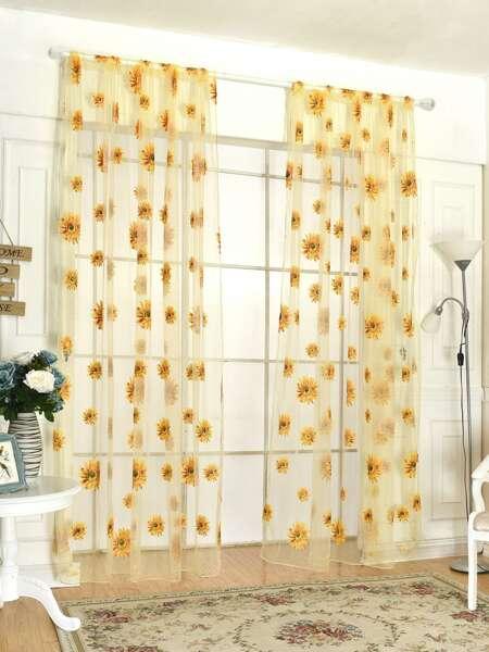 Sunflower Print Rod Pocket Sheer Curtain 1pc