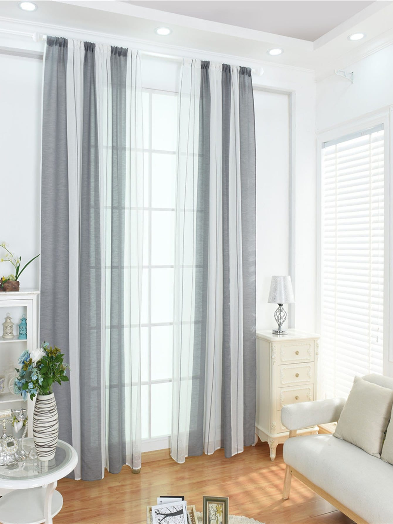 Two Tone Rod Pocket Sheer Curtain 1pc floral print rod pocket sheer curtain 1pc