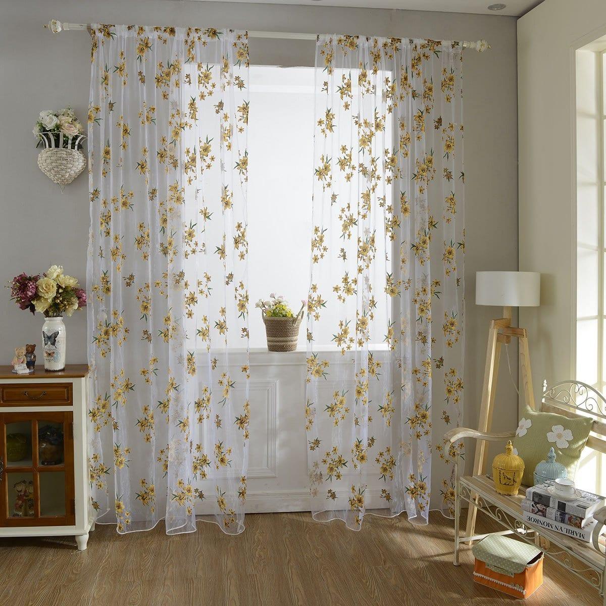 Bloemenprint Rod Pocket Sheer Curtain 1pc
