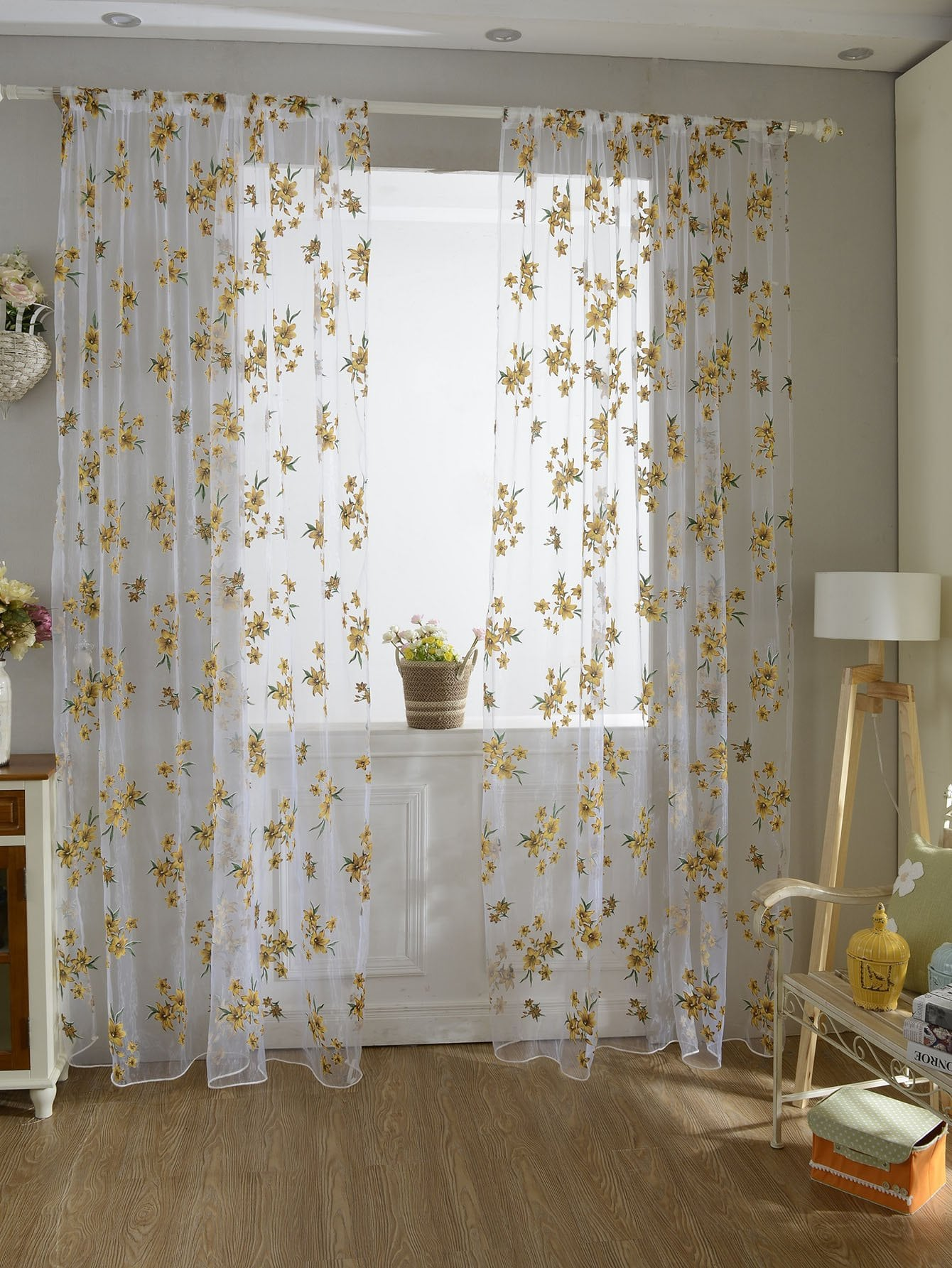 Flower Print Rod Pocket Sheer Curtain 1pc floral print rod pocket sheer curtain 1pc