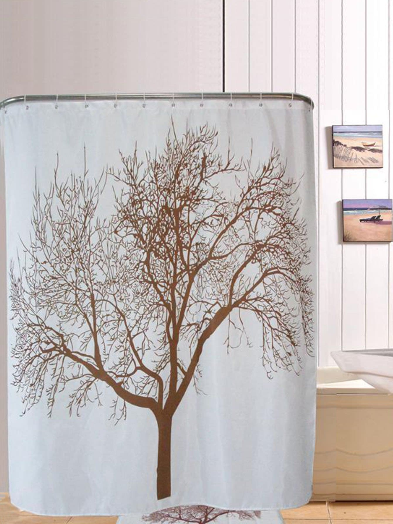 Tree Pattern Shower Curtain 1pc With Hook 12pcs afro hair lady immersed in her own world pattern shower curtain
