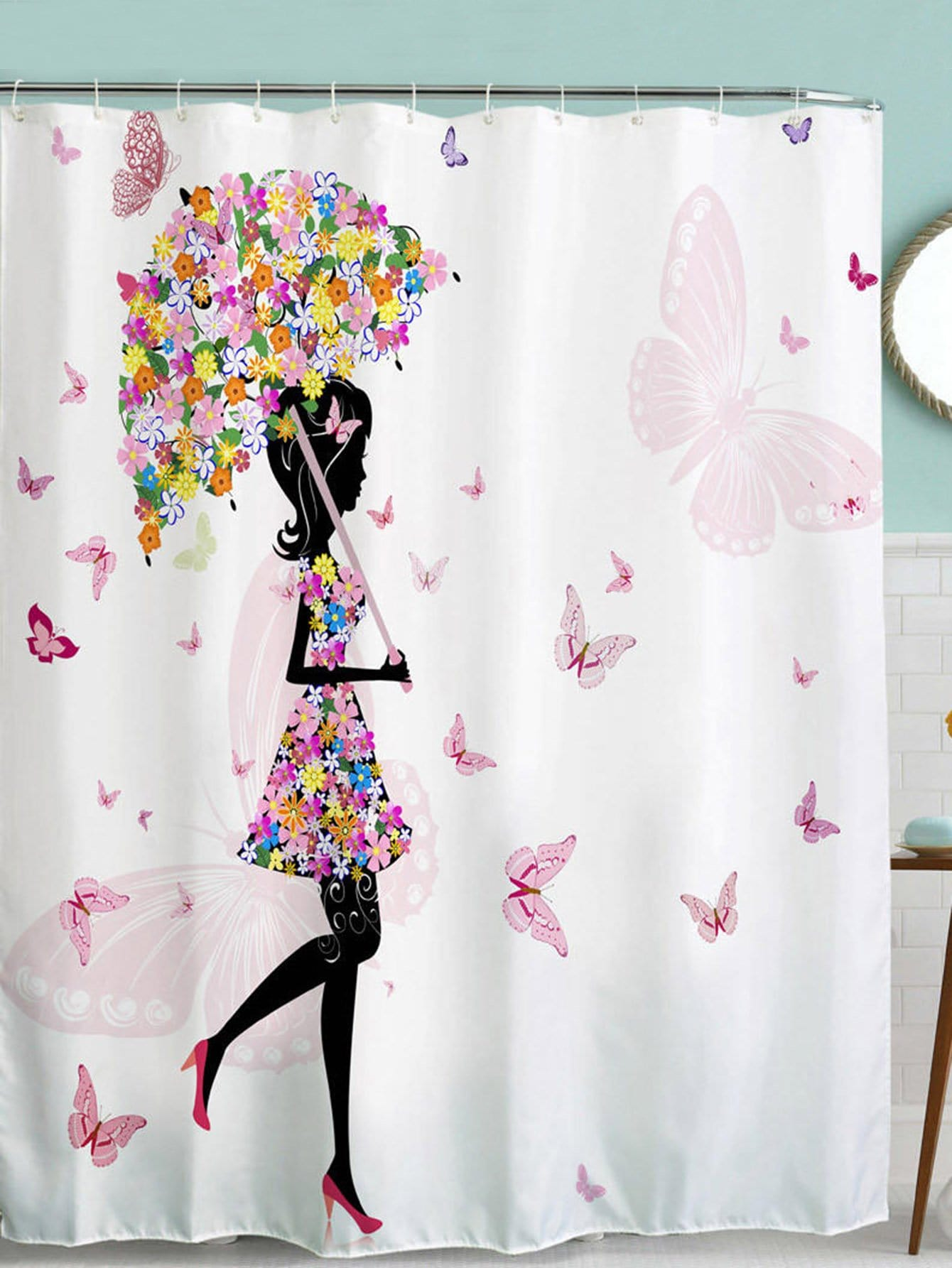 Girl Pattern Shower Curtain 1pc With Hook 12pcs afro hair lady immersed in her own world pattern shower curtain