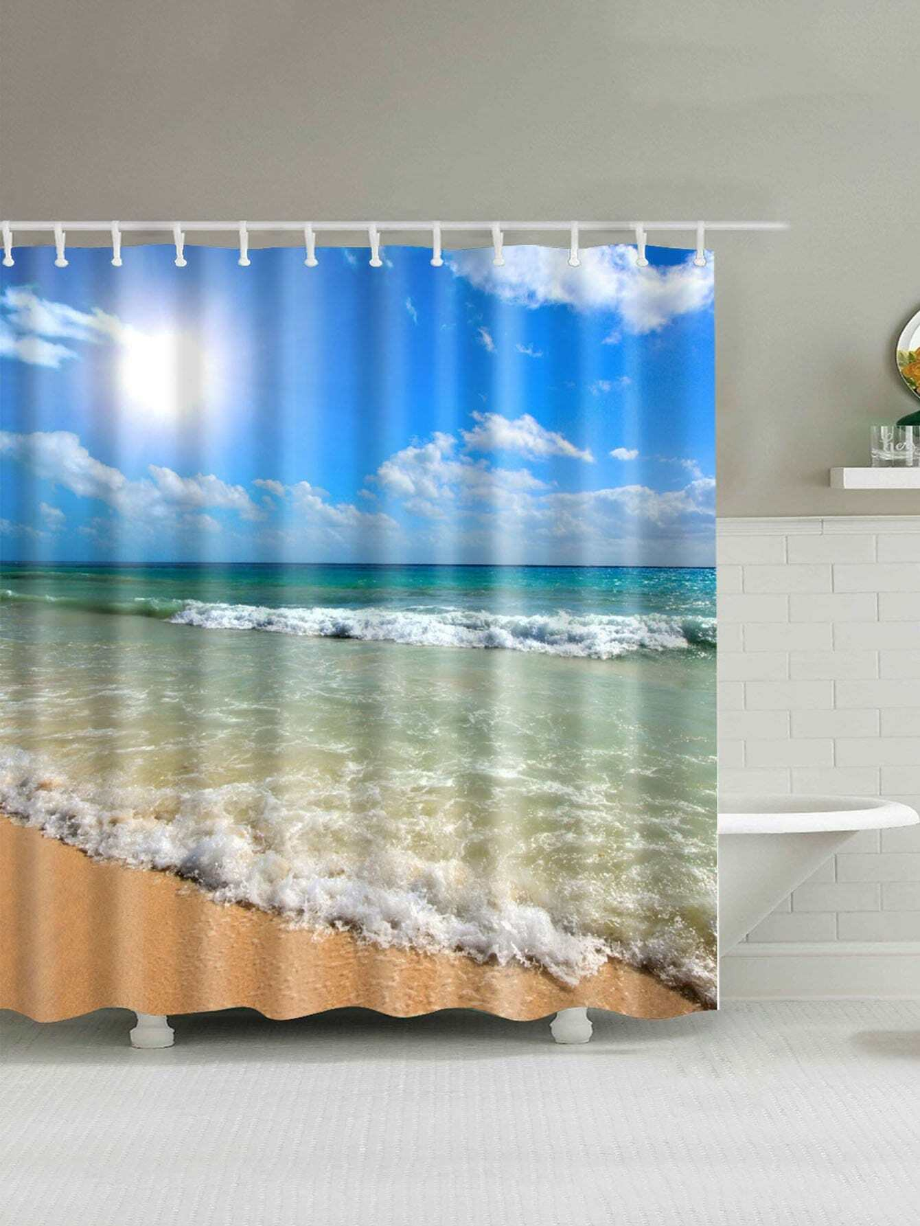 Beach Print Shower Curtain 1pc With Hook 12pcs female silhouette art print shower curtain