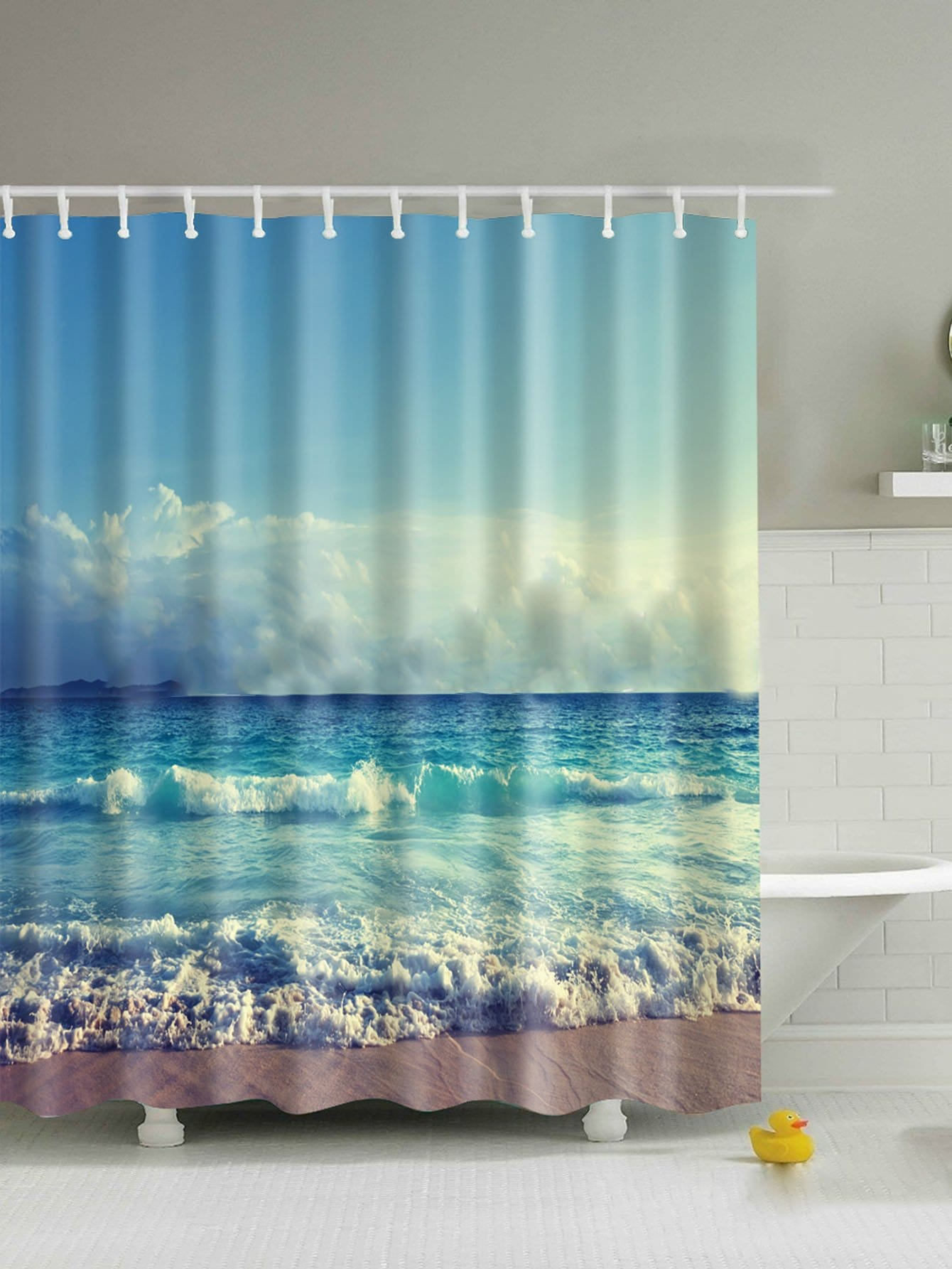 Sea Print Shower Curtain 1pc With Hook 12pcs female silhouette art print shower curtain