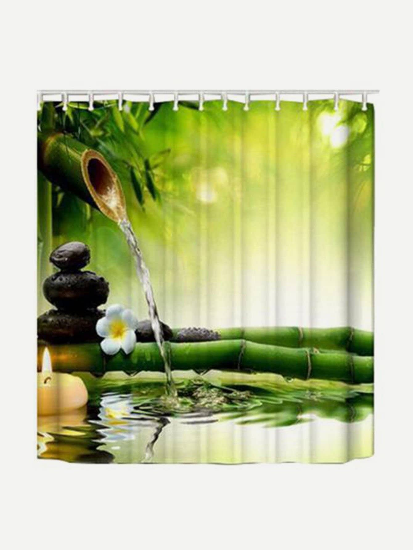 Bamboo Print Shower Curtain 1pc With Hook 12pcs female silhouette art print shower curtain