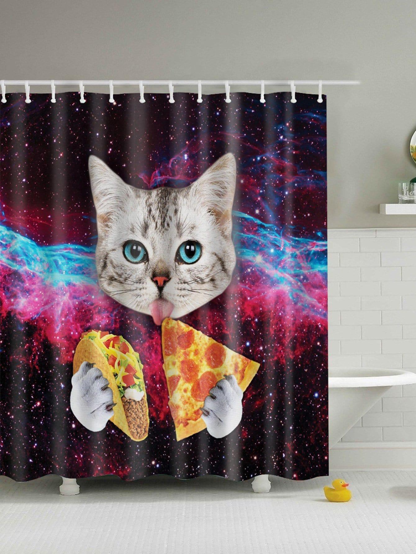 Vorhang 1pc mit Katze Muster und Haken 12pcs