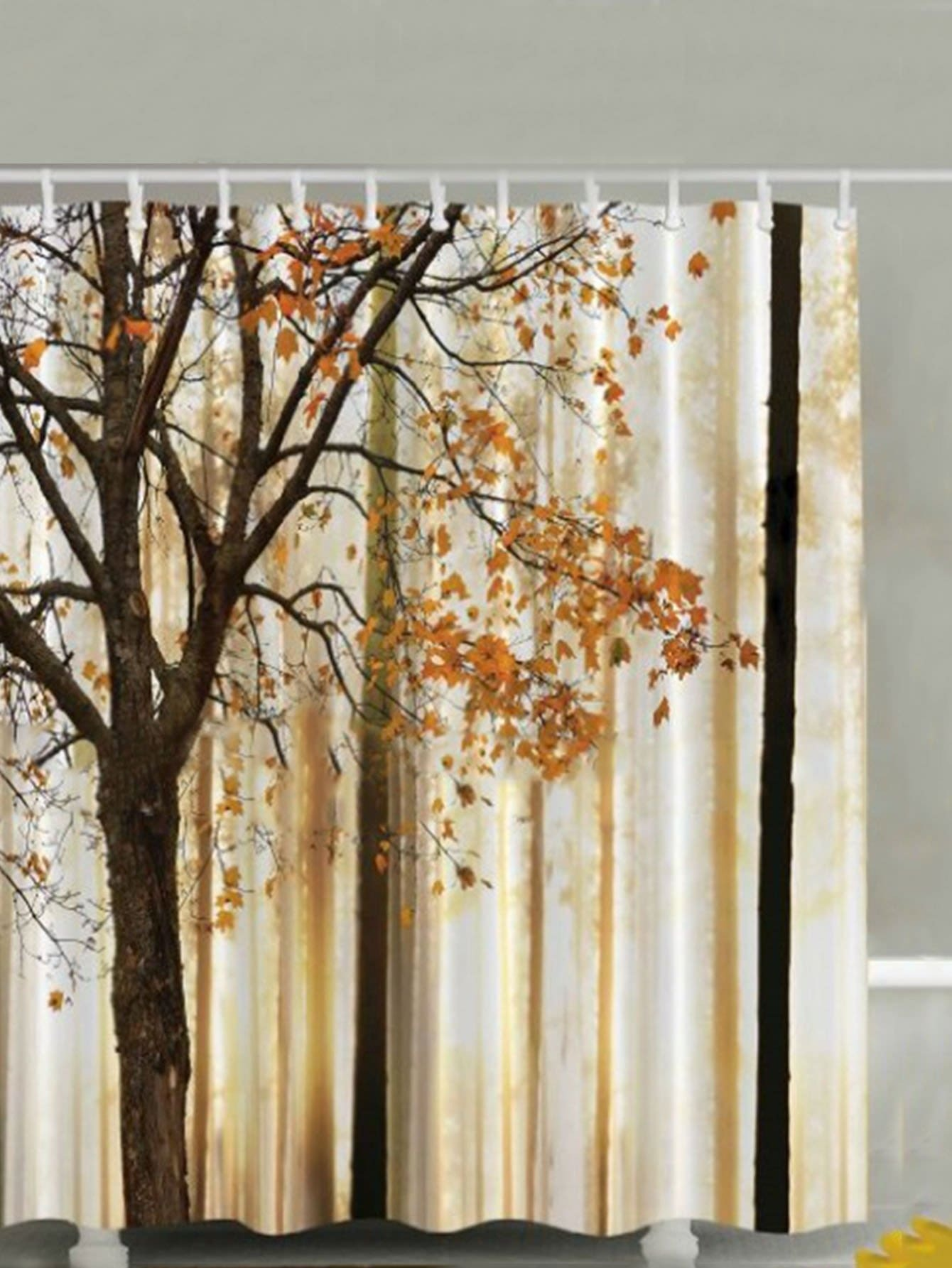 Tree Pattern Shower Curtain 1pc With Hook 12pcs pine tree snowscape pattern waterproof shower curtain